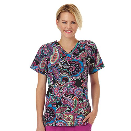 Bio Women's Mock Wrap Paisley Print Scrub Top Large Print