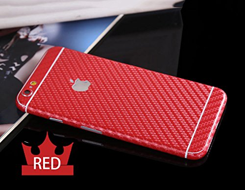 Toeoe Luxury 3D Textured Carbon Fibre Full Body Vinyl Wrap Sticker Skin Cover for Apple iPhone 6 4.7 inch - Fibre Red Carbon