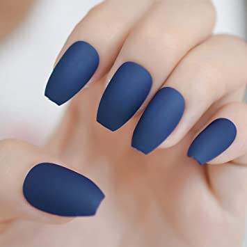 Amazon.com: Uñas artificiales planas de coffin, color azul ...