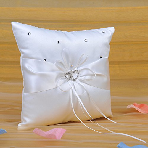 Remedios Ivory Satin Double Hearts Decoration Wedding Ring Bearer Pillow, Ivory 7.5