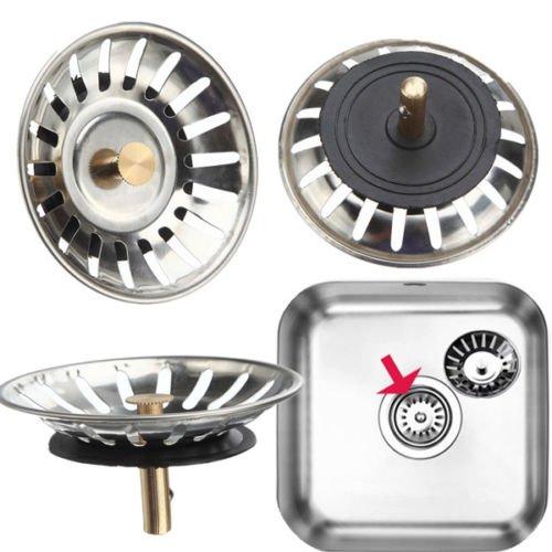 MAZIMARK--McAlpine Stainless Steel Kitchen Sink Drain Strainer Waste Plug by MAZIMARK