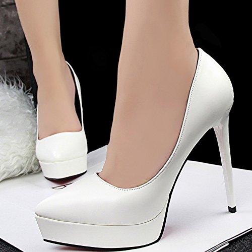 Damen Heels Court BIGTREE Matte Spitzschuh High Wedding Schuhe Schuhe Platform Weiß von 655qEzrTf