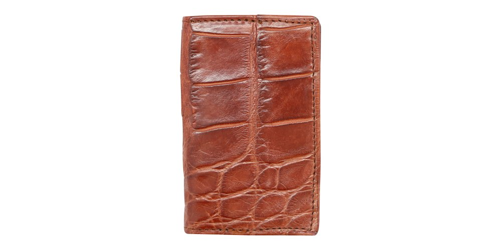 Cognac Genuine Millennium Alligator Gusseted Business/Credit Card Case Wallet – Alligator Inside and Out - Brown & Cognac - Factory Direct Made in USA by Real Leather Creations FBA302 by Real Leather Creations (Image #4)