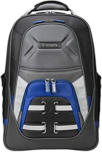 Targus Drifter Quest Durable and Expandable Checkpoint-Friendly Laptop Backpack with Protective Sleeve for 15.6-Inch Laptop, Black/Blue (TSB933US), Black/Gray