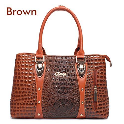 De Cocodrilo Cuero Mujer Bolso Brown dqEpdx