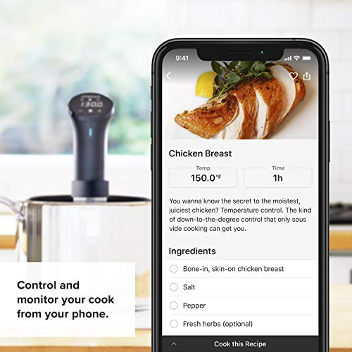 Anova Culinary AN500-US00 Sous Vide Precision Cooker (WiFi), 1000 Watts | Anova App Included, Black and Silver