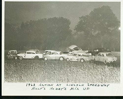 LICOLN SPEEDWAY CRASH PHOTO-STOCK CARS-1963 PHOTO
