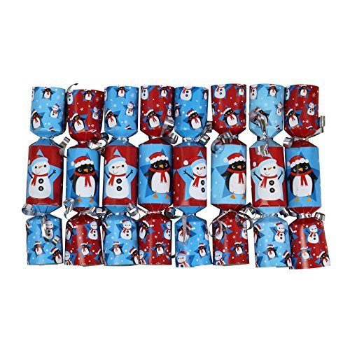 Iconikal 6.5-inch Mini Crackers 8-Pack (Red Snowman, Blue Penguin)