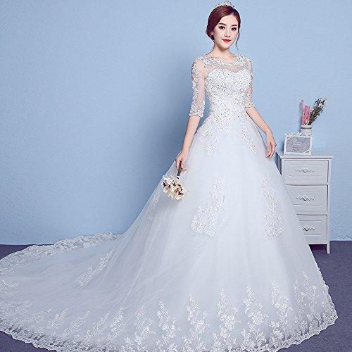 White Ee Girocollo Xx Coreano Manica Wedding Lace Sconosciuto Plus Semplice Dress Trailing Size 7UdSIqw