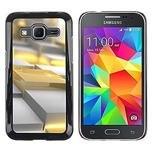 Oro amarillo Polígono 3D Art Plastic Fuego- Metal de aluminio y de plástico duro Caja del teléfono - Negro - Samsung Galaxy Core Prime
