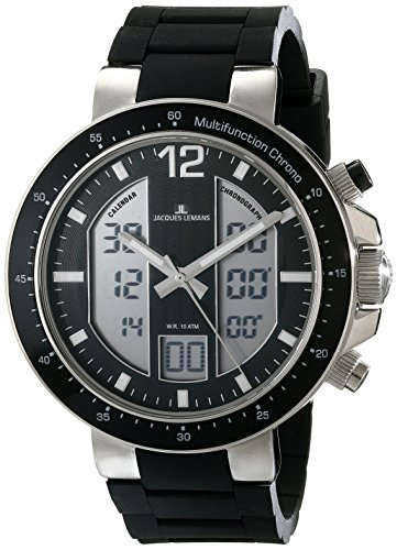 Jacques Lemans Men's 1-1726A Milano Analog-Digital Display Quartz Black Watch