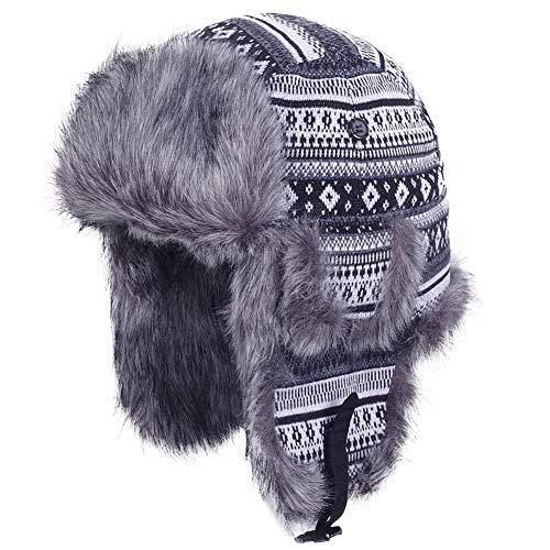 Original One Winter Outdoor Russian Trooper Trapper Cossack Ushanka Hunting Hat Faux Fur Ear Flap Chin Strap (Silver, M) ()