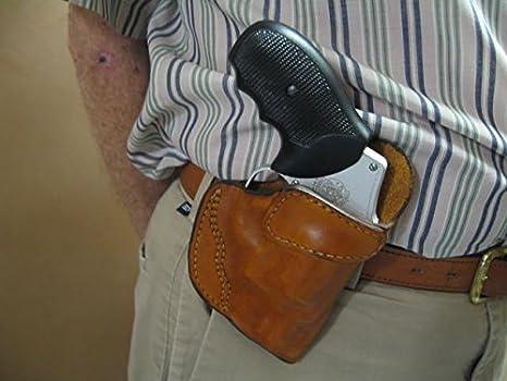 Charter Arms Bulldog 5 Shot Revolver Leather Clip On OWB Belt Concealment  Holster TAN RH