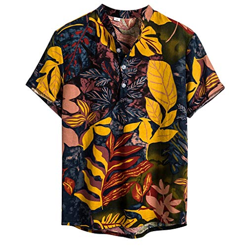 AOJIAN Men's Ethnic Short Sleeve Leaf Print Blouse Casual Cotton Linen Hawaiian Henley Shirt(Yellow,XXL)