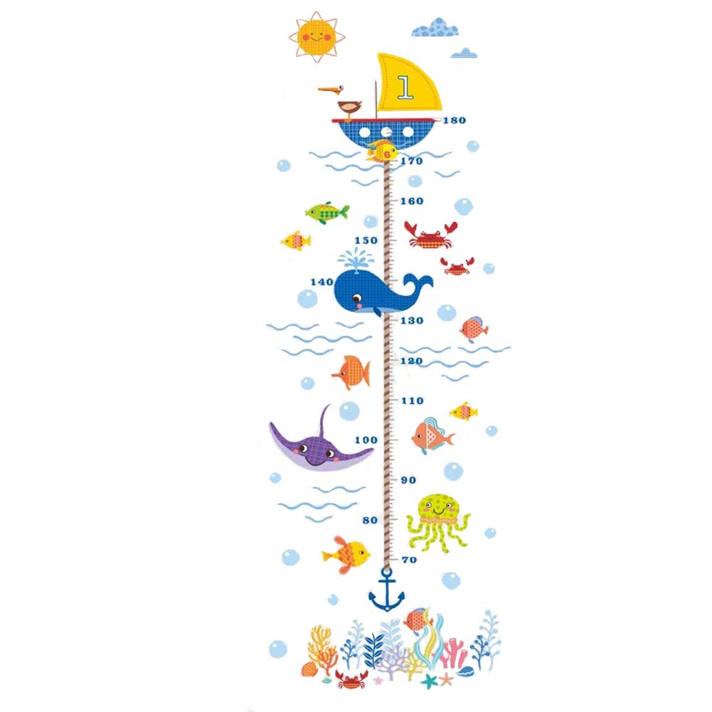 Horolas Kids Growth Chart Children Height Measuring Chart, DIY Growth Height Chart Measuring Removable Wall Decal, Room Decoration