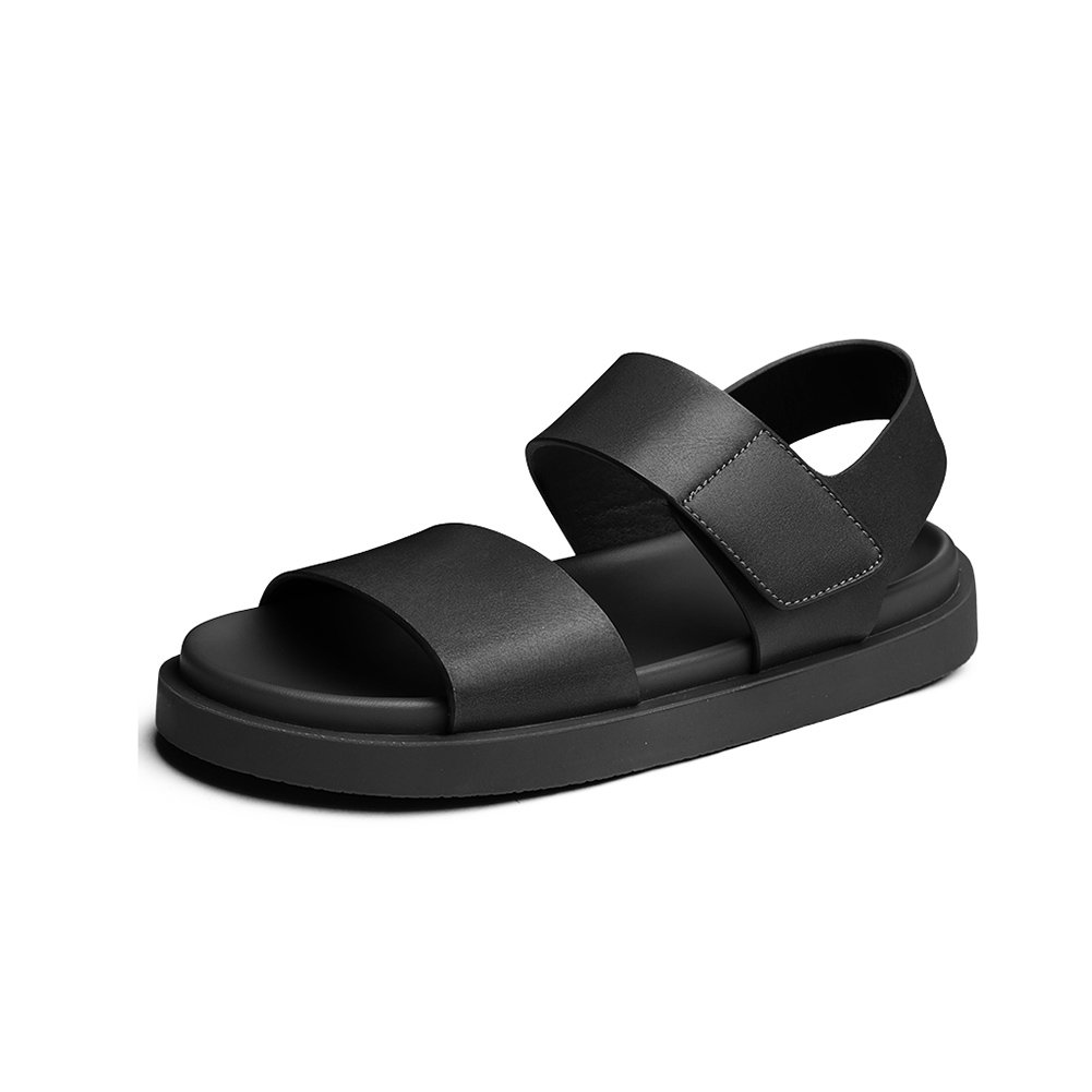 WYYY Calzado De Hombre Sandalias Temporada De Verano Doble Uso Fondo Suave Punta Abierta Velcro Sandalias Color Puro Exterior Zapatos De Playa Zapatos Casuales Sandalias De Playa EU39/UK6|Negro