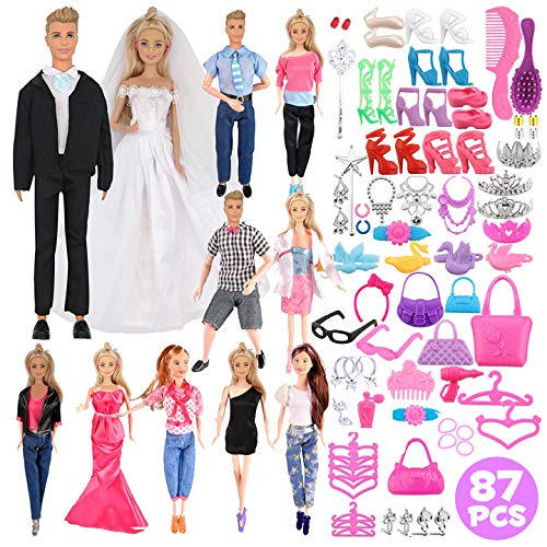 Liberty Imports Huge Bundle Complete Set of Handmade Clothes Outfits with Shoes and Accessories for Dolls (Set of 12 Clothes + Shoes and Accessories)