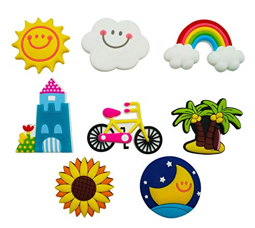Happy Cherry Home Decoration Stickers Cute White Clouds Rainbow Moon Stereo Refrigerator Fridge Magnets for Kids Activity a Set of 8 ()