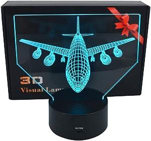 LLUUKK Visual 3D Night light Desk Lamp Airliner Plane Airplane Airplain toys Table decoration household accessories Kids gift boys festival