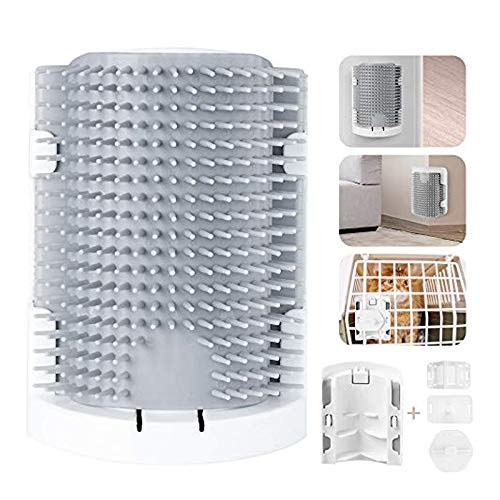ONCIDIUM Cat Self Groomer Wall Corner Grooming Comb Upgraded Soft Rubber Bristles Kitten Massager Brush Toy 3 Installation Methods Fit for Flat Wall Corner Cage and Hand Hold (Gray)
