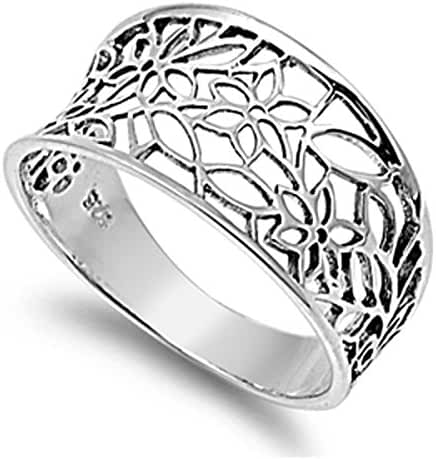 Sterling Silver Women's Vintage Filigree Thumb Flower Leaf Ring (Sizes 3-13)