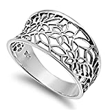 Prime Jewelry Collection Sterling Silver Women's Vintage Filigree Thumb Flower Leaf Ring (Sizes 3-13) (Ring Size 8)