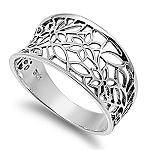 Sterling Silver Women's Vintage Filigree Thumb Flower Leaf Ring (Sizes 3-13) (Ring Size 12) Vintage Filigree Ring