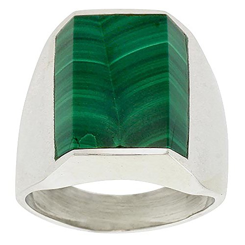 Sterling Silver Malachite Ring for Men Rectangular Flat Solid Back Handmade, size 12