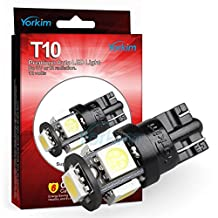 194 LED Light bulb, Yorkim® 2015 Newest, 5th Generation, Interior Lights for W5W 194 168 2825 T10 Wedge 5-smd 5050, Replacement and Reverse T10 White Bulbs, Used For Signal Lights, Trunk Lights, Dashboard Lights, Parking Lights, With Great Brightness and Longer Life(Pack of 10)- White