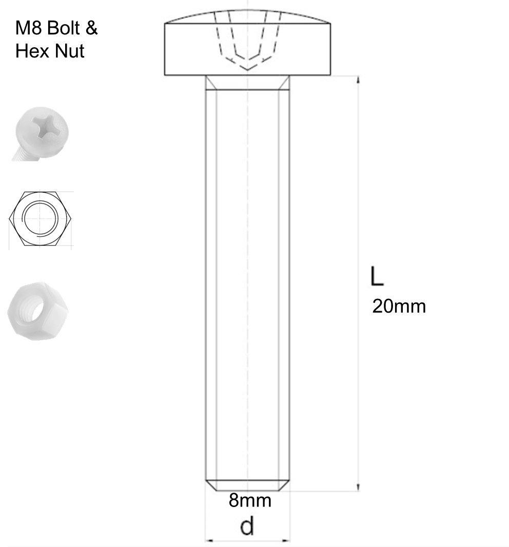 Arandelas transparentes Paquete de 10 tornillos y tuercas de pl/ástico acr/ílico M8 x 20mm