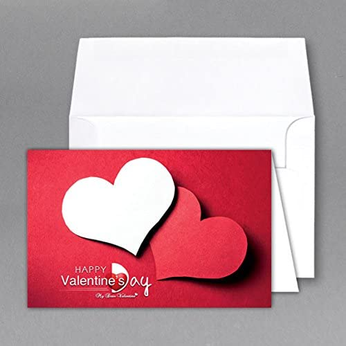 5 X 7 Valentine Cards & Envelopes (Red & White Heart)- Cards When Folded - Pack of 25 Sales
