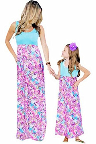 Mommy And Me Fashion Floral Print Sleeveless Dress Beach Party Maxi Sundress Small Mother Pink