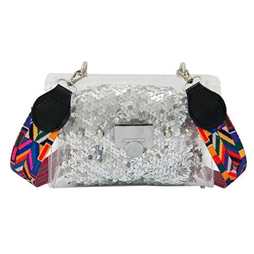 Exteren Fashion Women Transparent Crossbody Bags Shoulder Bag+Sequins Clutch Wallet for Children Girls Women Boys Men (Silver) by Exteren