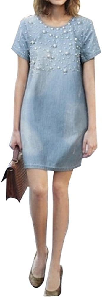 5 ALL Damen Sommer Elegant Jeanskleid Beil/äufige Rundhals Kurzarm A-Linie Denim Perlen Strandkleid Abendkleid Minikleid Partykleid Blusenkleid