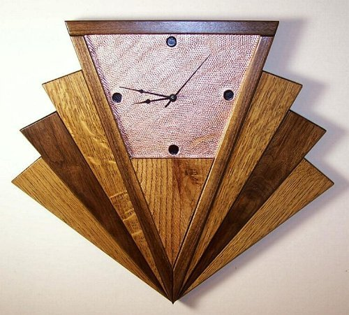 Wall Clock Oak Walnut Copper Art Deco Machine Age Fan Inspired Made in USA