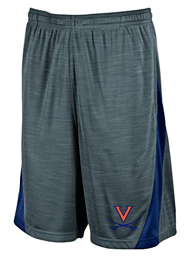 (NCAA Virginia Cavaliers Men's Boosted Stripe Color Blocked Training Shorts, Small, Gray)