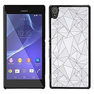 Patrón Negro Líneas Poli Arte abstracto gris- Metal de aluminio y de plástico duro Caja del teléfono - Negro - Sony Xperia T3