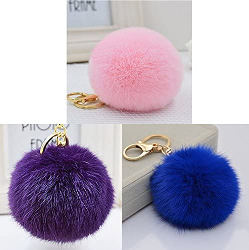 Purple Real Fox Fur Ball Pendant Accessories Bag Key Chain Ring Charm Pom Gift