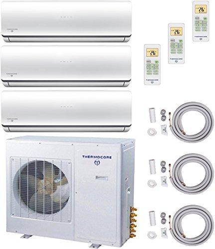 Thermocore Systems Tri-Zone ENERGY STAR Ductless Mini Split Heat Pump Air Conditioner (9000 BTU + 9000 BTU + 12000 BTU) - Heat Pump Central Heating