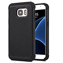 Galaxy S7 Case , MCUK [Drop Protection] [Shock Absorption] [Heavy Duty Protection] Hybrid Hard Football lines Premium Dual Layer Case Cover for Samsung Galaxy S7 (Black)