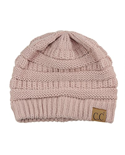 C.C Trendy Warm Chunky Soft Stretch Cable Knit Beanie Skully, Rose Pink