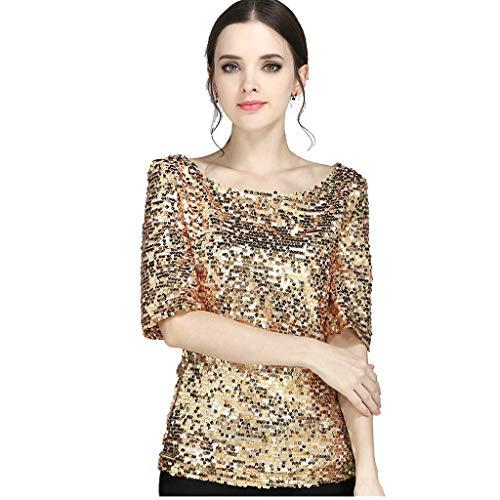 lotus.flower Fashion Women Sequins Sparkle Coctail Party Casual Top Blouse Crop Tops Shirt (L, Gold) ()