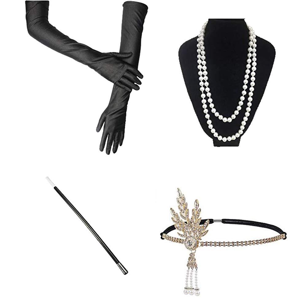 InnoBase Roaring 20s Costumi Charleston Fascia per Capelli Perle Collana Guanti Senza Dita Porta Sigaretta 1920 Accessori set Costume della falda per le Donne C17