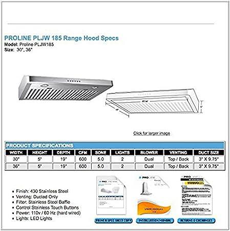 Proline Wall//Undercabinet Range Hood PLJW 185.30 600 CFM 30