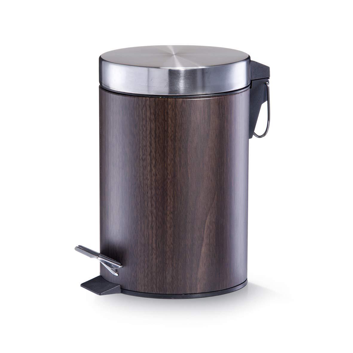 Zeller 18566 - Cubo de basura con pedal, ø17 cm, altura 26 cm, 3 litros, color madera de nogal: Amazon.es: Hogar