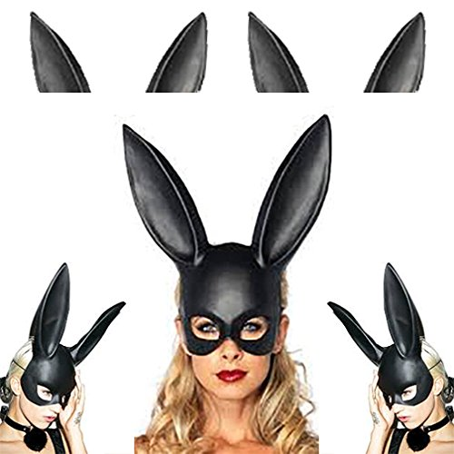 [Adorox Sexy Bondage Masquerade Bunny Rabbit Mask Adult Halloween Costume Accessory (Black)] (Halloween Costumes Rabbit)