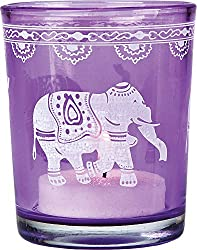 Luna Bazaar Painted Glass Candle Holder (3-Inch, Elephant Design, Purple) - For Use with Tea Lights - For Home Decor, Parties, and Wedding Decorations