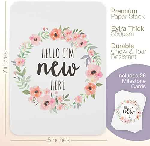 Baby Milestone Cards, Set of 26​ - N​ewborn First Year Progress Report Cards with Cute Sayings and Floral Wreath Prints - Unique Baby Shower Gift for New Moms, Parents - for Girls