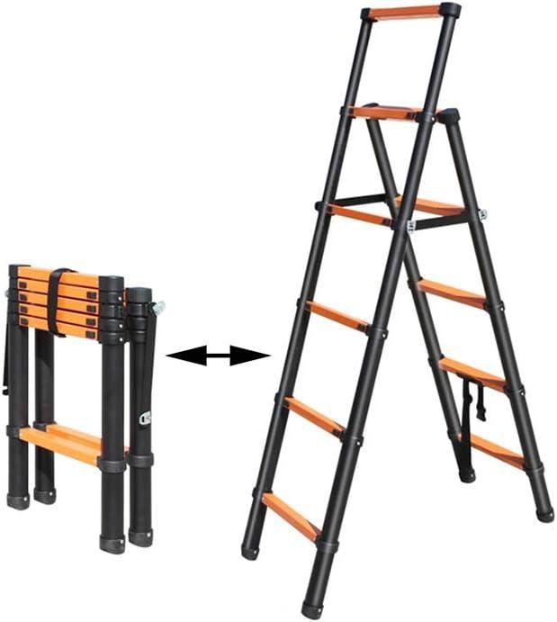 XSJZ Escalera Plegable de Múltiples Funciones, Aleación de Aluminio Negro Escalera de Extensión Elevación Escalera de Hogar Plegable Raspa de Arenque Interior Escaleras de Ingeniería de Exterior Multi: Amazon.es: Hogar