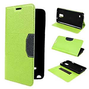 Galaxy Note 4 Case , TUTUWEN Fashion Simplified Style Design PU Leather Flip with Card Holder Case Cover For Samsung Galaxy Note 4 Green